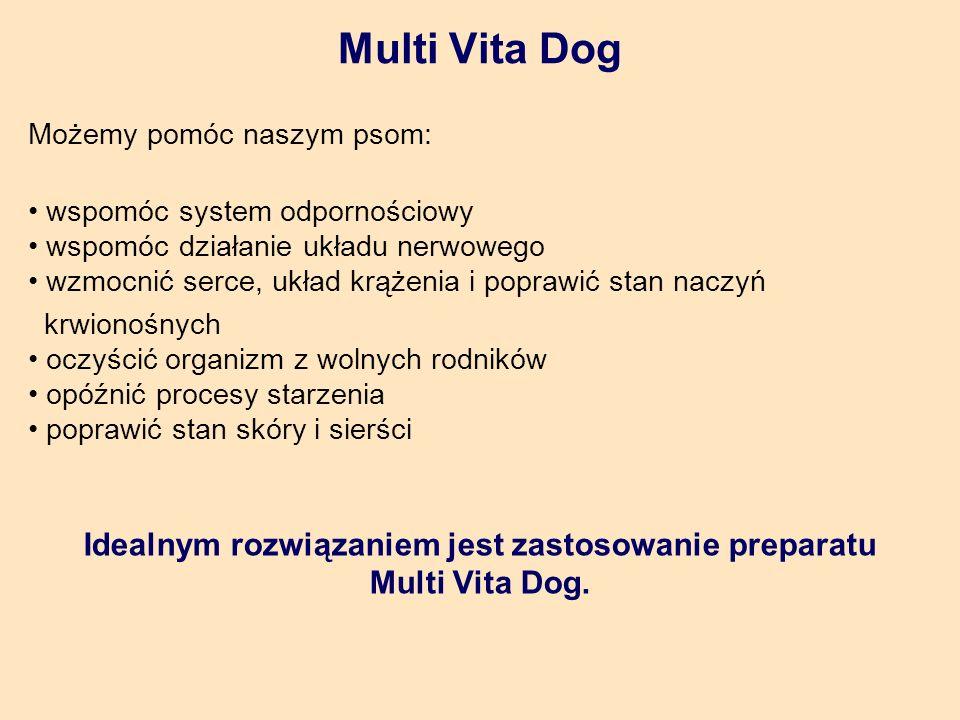 Multi Vita Dog Możemy pomóc naszym psom: wspomóc system odpornościowy wspomóc działanie układu nerwowego wzmocnić serce, układ krążenia i poprawić stan naczyń krwionośnych oczyścić organizm z wolnych rodników opóźnić procesy starzenia poprawić stan skóry i sierści Idealnym rozwiązaniem jest zastosowanie preparatu Multi Vita Dog.