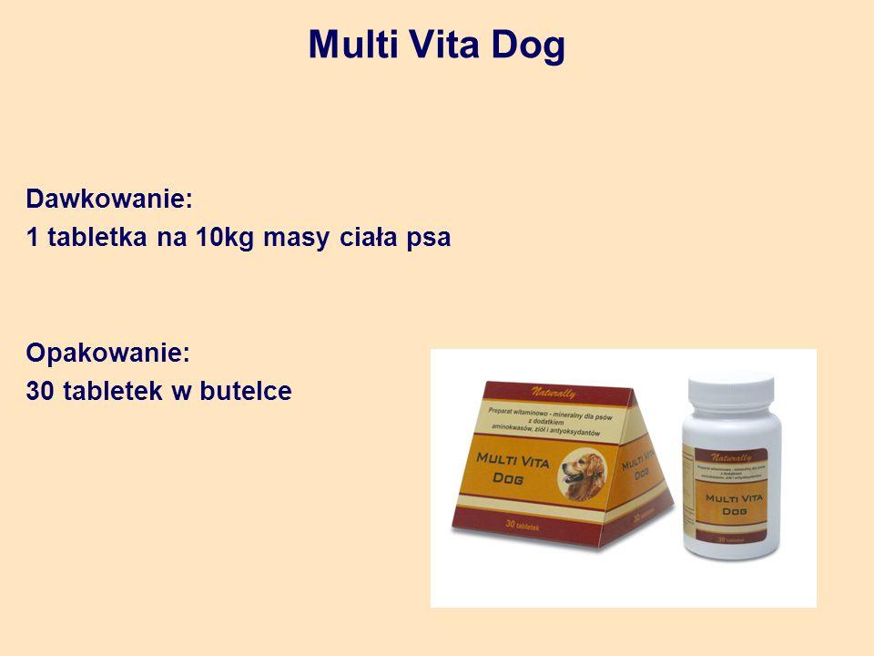 Multi Vita Dog Dawkowanie: 1 tabletka na 10kg masy ciała psa Opakowanie: 30 tabletek w butelce