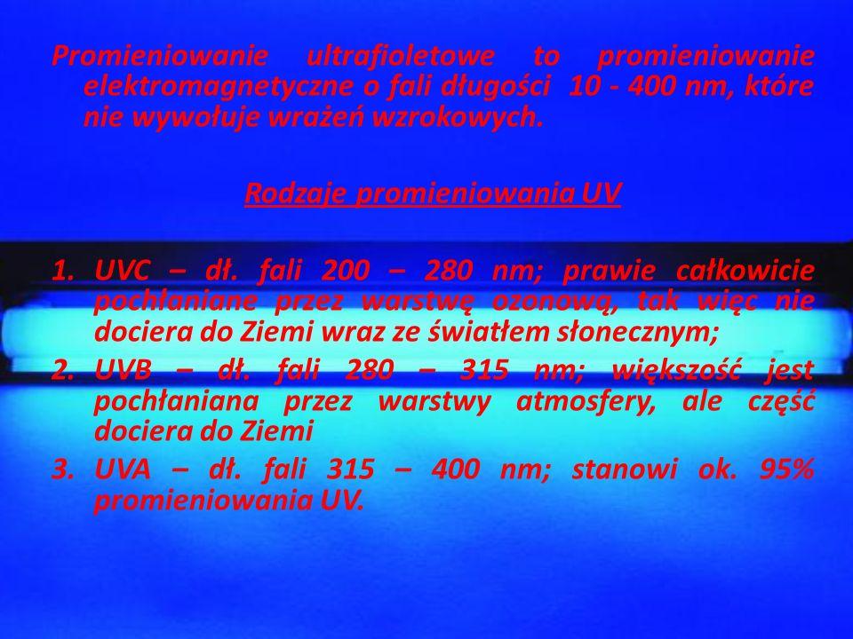 Promieniowanie ultrafioletowe to promieniowanie elektromagnetyczne o fali długości 10 - 400 nm, które nie wywołuje wrażeń wzrokowych. Rodzaje promieni