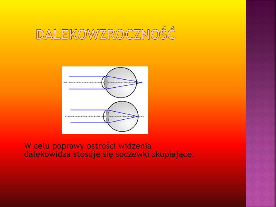 W celu poprawy ostrości widzenia dalekowidza stosuje się soczewki skupiające.