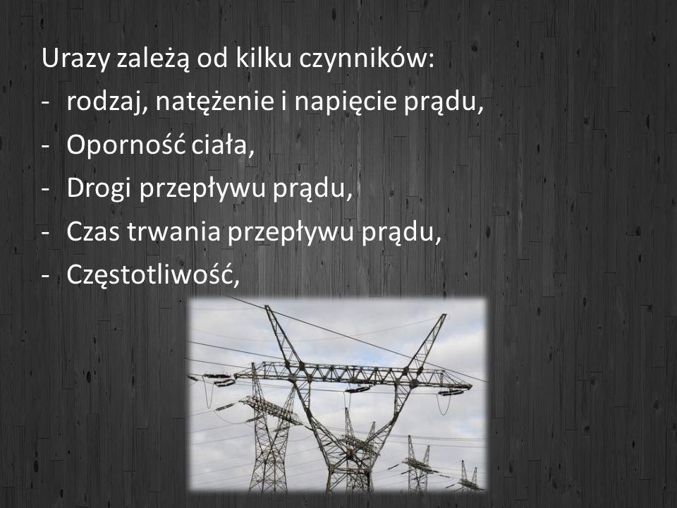 Urazy zależą od kilku czynników: -rodzaj, natężenie i napięcie prądu, -Oporność ciała, -Drogi przepływu prądu, -Czas trwania przepływu prądu, -Częstot