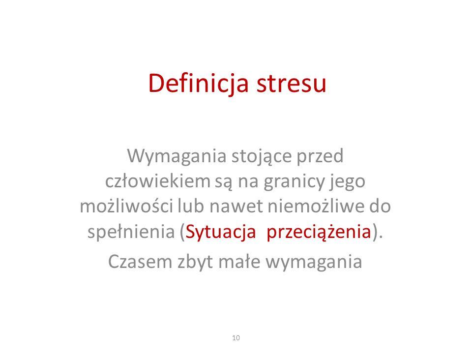 Definicja stresu Wymagania stojące przed człowiekiem są na granicy jego możliwości lub nawet niemożliwe do spełnienia (Sytuacja przeciążenia). Czasem