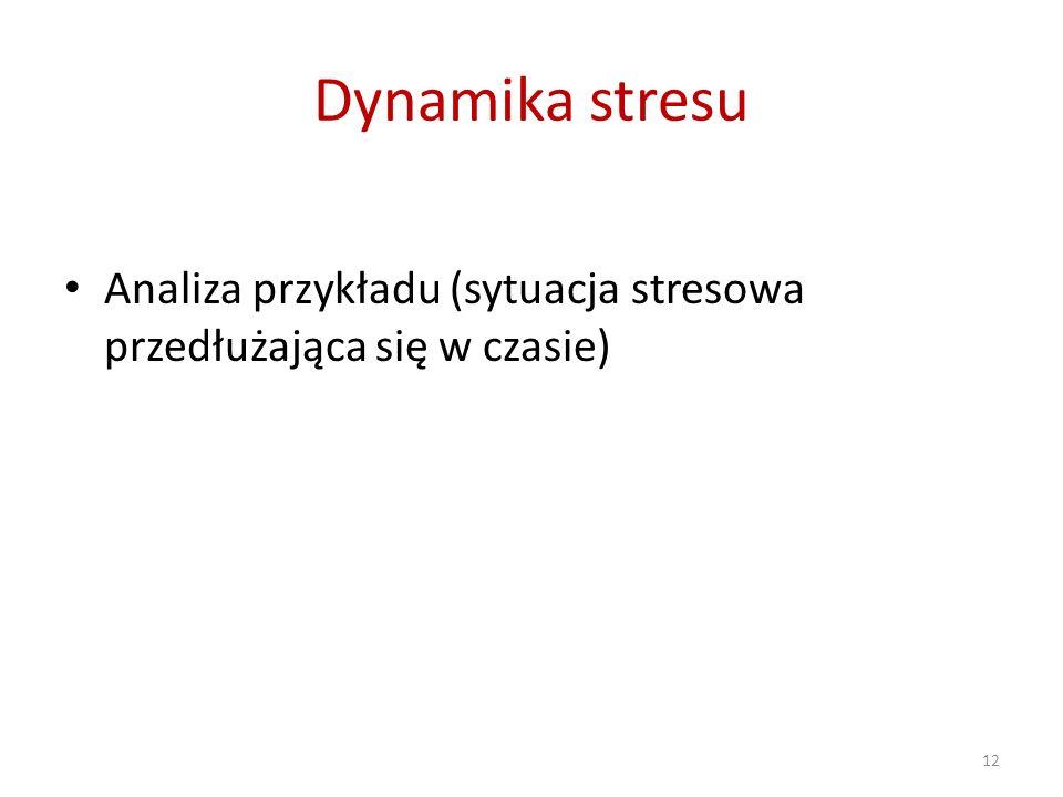 Dynamika stresu Analiza przykładu (sytuacja stresowa przedłużająca się w czasie) 12