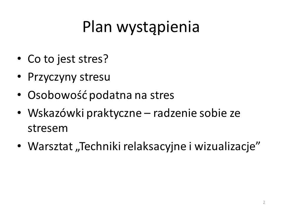Plan wystąpienia Co to jest stres? Przyczyny stresu Osobowość podatna na stres Wskazówki praktyczne – radzenie sobie ze stresem Warsztat Techniki rela