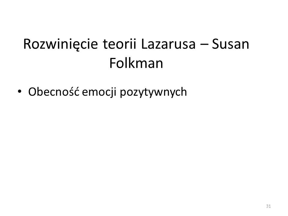 Rozwinięcie teorii Lazarusa – Susan Folkman Obecność emocji pozytywnych 31