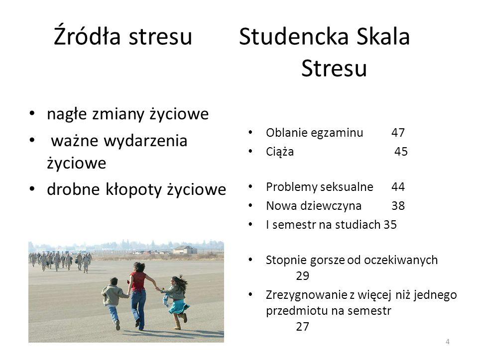 4 Źródła stresu Studencka Skala Stresu nagłe zmiany życiowe ważne wydarzenia życiowe drobne kłopoty życiowe Oblanie egzaminu 47 Ciąża 45 Problemy seks
