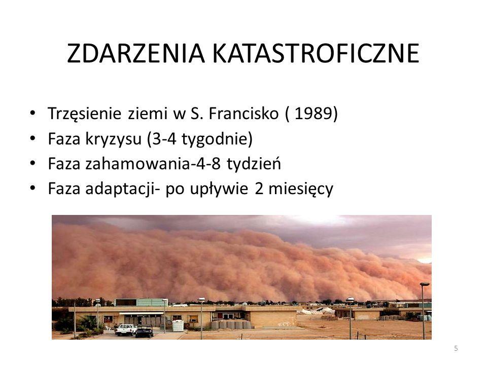 5 ZDARZENIA KATASTROFICZNE Trzęsienie ziemi w S. Francisko ( 1989) Faza kryzysu (3-4 tygodnie) Faza zahamowania-4-8 tydzień Faza adaptacji- po upływie