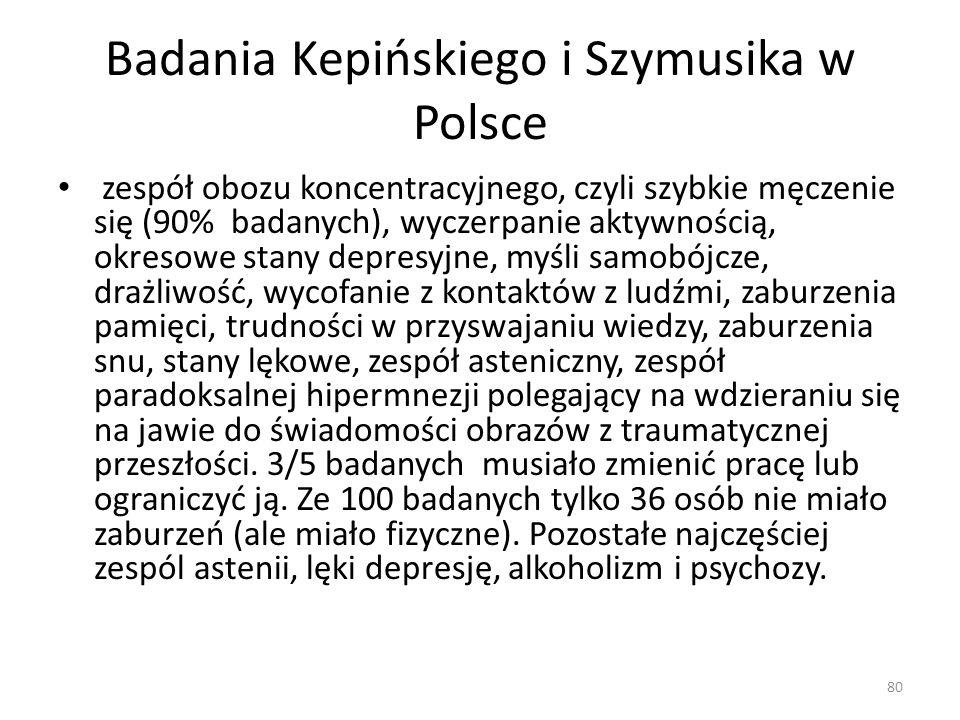 Badania Kepińskiego i Szymusika w Polsce zespół obozu koncentracyjnego, czyli szybkie męczenie się (90% badanych), wyczerpanie aktywnością, okresowe s