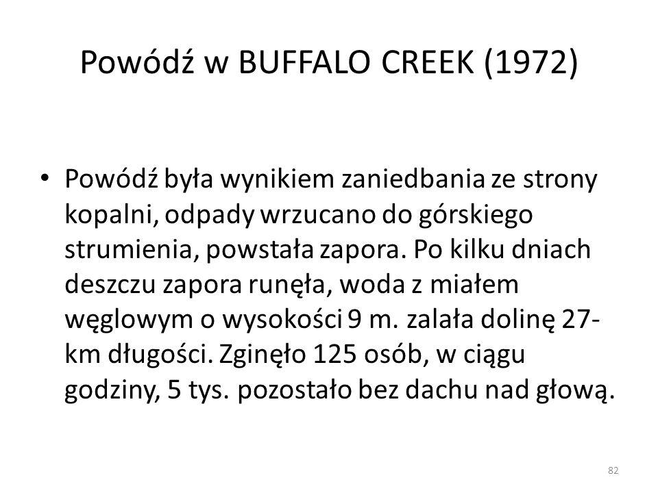 Powódź w BUFFALO CREEK (1972) Powódź była wynikiem zaniedbania ze strony kopalni, odpady wrzucano do górskiego strumienia, powstała zapora. Po kilku d