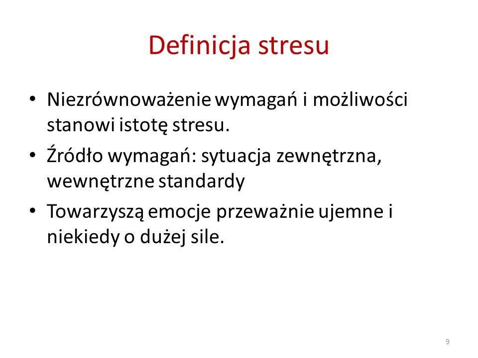 Definicja stresu Niezrównoważenie wymagań i możliwości stanowi istotę stresu. Źródło wymagań: sytuacja zewnętrzna, wewnętrzne standardy Towarzyszą emo