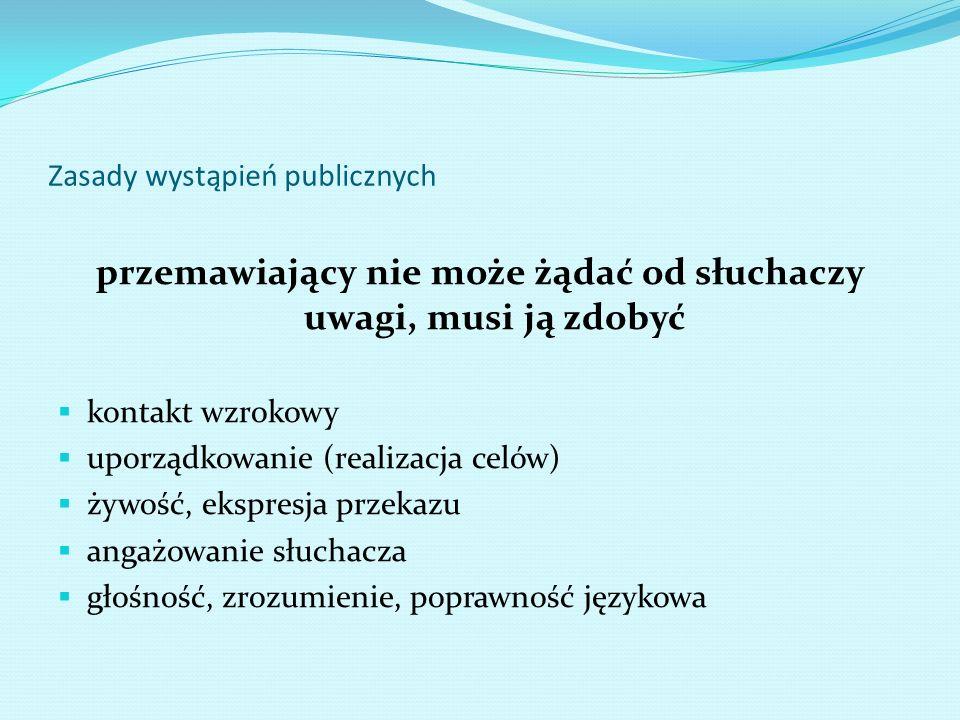 Zasady wystąpień publicznych przemawiający nie może żądać od słuchaczy uwagi, musi ją zdobyć kontakt wzrokowy uporządkowanie (realizacja celów) żywość