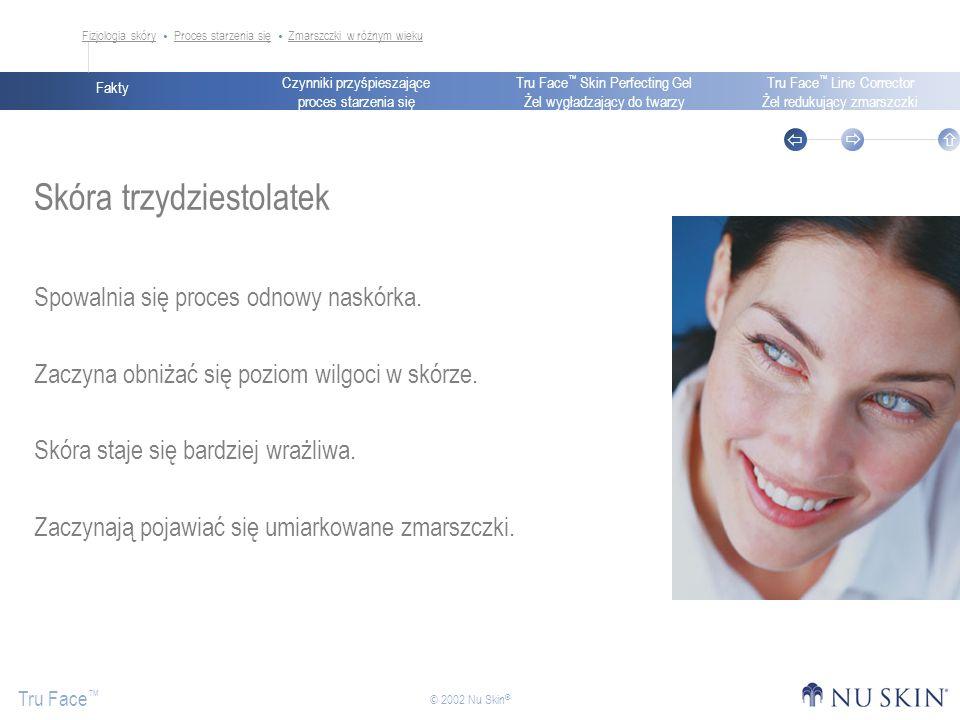 Czynniki przyśpieszające proces starzenia się Fakty Tru Face Skin Perfecting Gel Żel wygładzający do twarzy Tru Face Line Corrector Żel redukujący zmarszczki Tru Face © 2002 Nu Skin ® Skóra trzydziestolatek Spowalnia się proces odnowy naskórka.