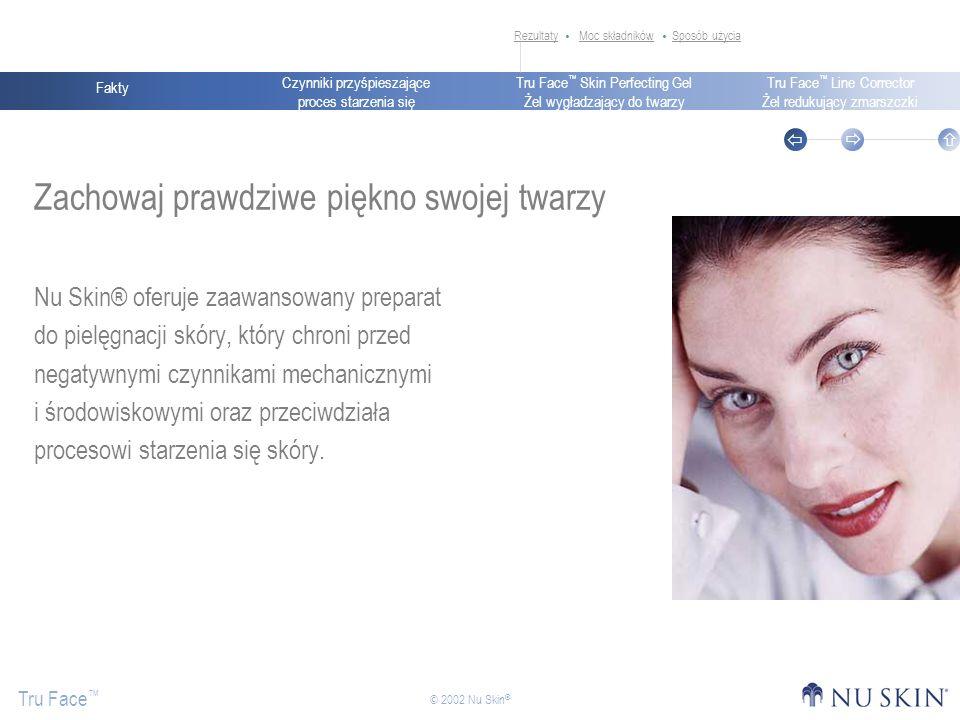 Czynniki przyśpieszające proces starzenia się Fakty Tru Face Skin Perfecting Gel Żel wygładzający do twarzy Tru Face Line Corrector Żel redukujący zmarszczki Tru Face © 2002 Nu Skin ® Zachowaj prawdziwe piękno swojej twarzy Nu Skin® oferuje zaawansowany preparat do pielęgnacji skóry, który chroni przed negatywnymi czynnikami mechanicznymi i środowiskowymi oraz przeciwdziała procesowi starzenia się skóry.
