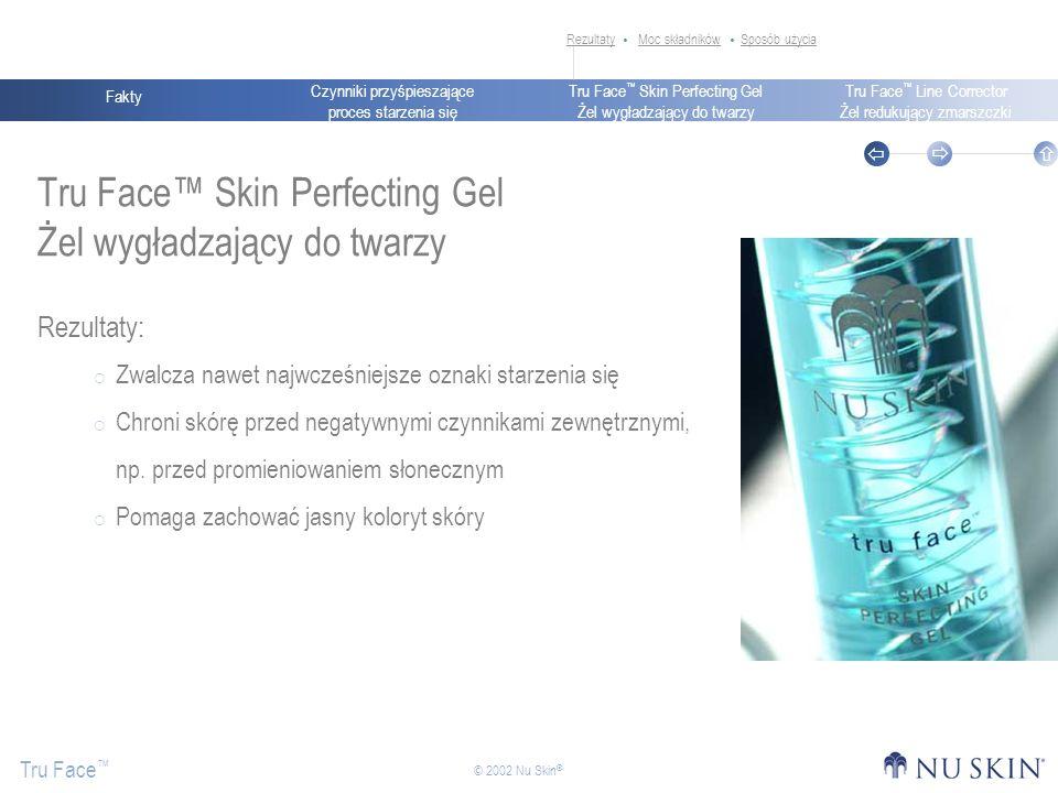 Czynniki przyśpieszające proces starzenia się Fakty Tru Face Skin Perfecting Gel Żel wygładzający do twarzy Tru Face Line Corrector Żel redukujący zmarszczki Tru Face © 2002 Nu Skin ® Tru Face Skin Perfecting Gel Żel wygładzający do twarzy Rezultaty: Zwalcza nawet najwcześniejsze oznaki starzenia się Chroni skórę przed negatywnymi czynnikami zewnętrznymi, np.