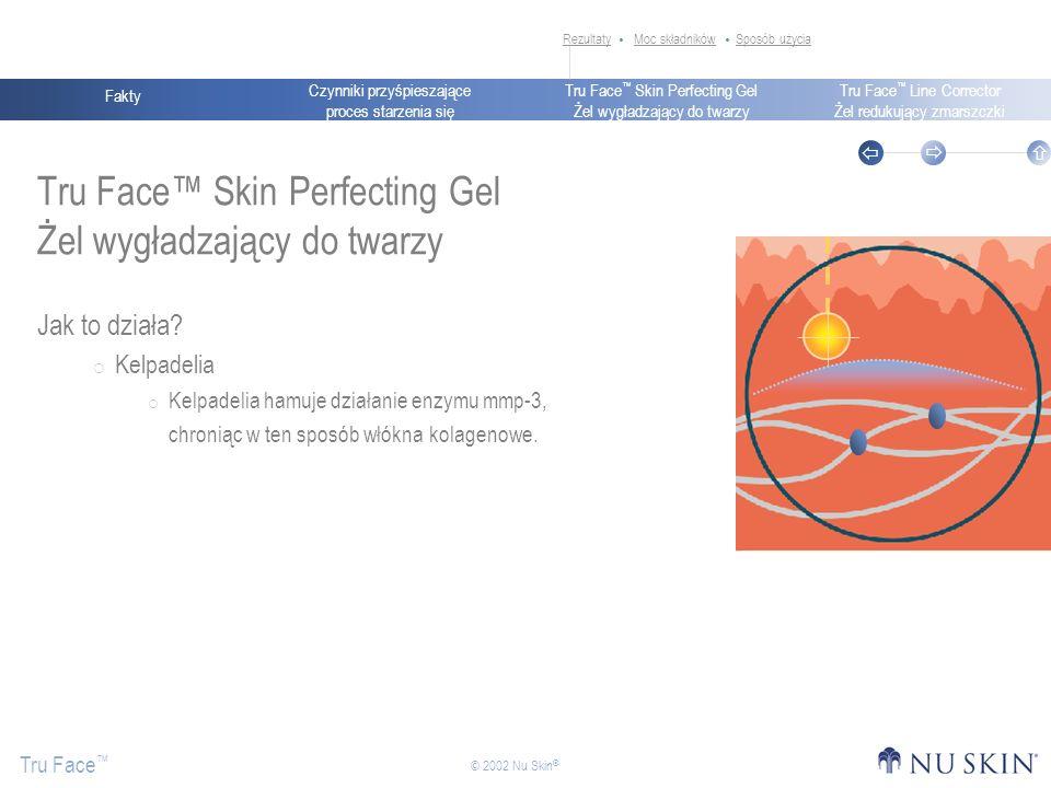 Czynniki przyśpieszające proces starzenia się Fakty Tru Face Skin Perfecting Gel Żel wygładzający do twarzy Tru Face Line Corrector Żel redukujący zmarszczki Tru Face © 2002 Nu Skin ® Tru Face Skin Perfecting Gel Żel wygładzający do twarzy Jak to działa.