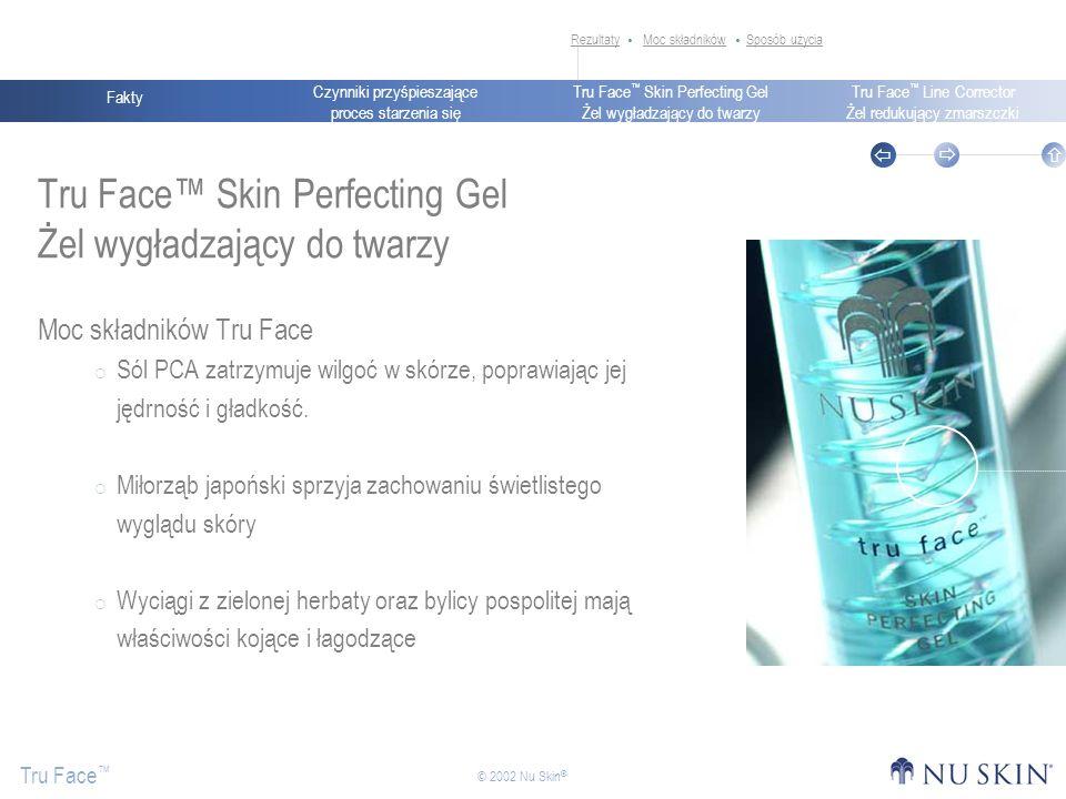 Czynniki przyśpieszające proces starzenia się Fakty Tru Face Skin Perfecting Gel Żel wygładzający do twarzy Tru Face Line Corrector Żel redukujący zmarszczki Tru Face © 2002 Nu Skin ® Tru Face Skin Perfecting Gel Żel wygładzający do twarzy Moc składników Tru Face Sól PCA zatrzymuje wilgoć w skórze, poprawiając jej jędrność i gładkość.