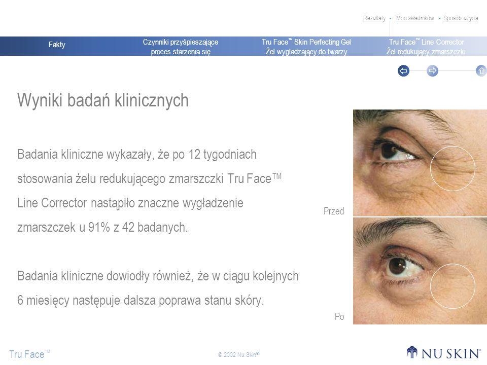 Czynniki przyśpieszające proces starzenia się Fakty Tru Face Skin Perfecting Gel Żel wygładzający do twarzy Tru Face Line Corrector Żel redukujący zmarszczki Tru Face © 2002 Nu Skin ® Wyniki badań klinicznych Badania kliniczne wykazały, że po 12 tygodniach stosowania żelu redukującego zmarszczki Tru Face Line Corrector nastąpiło znaczne wygładzenie zmarszczek u 91% z 42 badanych.