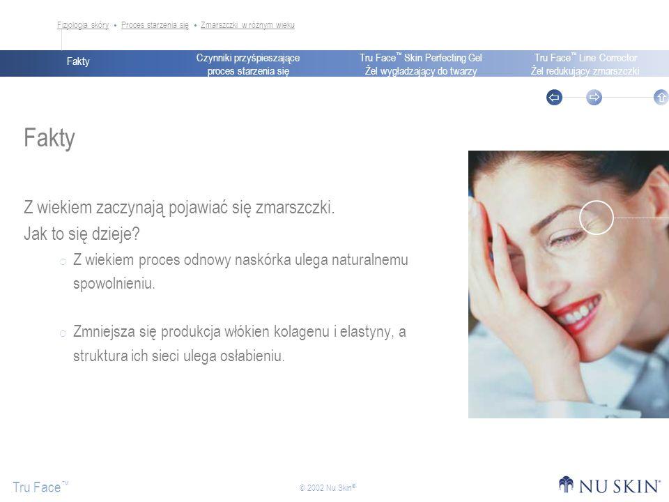 Czynniki przyśpieszające proces starzenia się Fakty Tru Face Skin Perfecting Gel Żel wygładzający do twarzy Tru Face Line Corrector Żel redukujący zmarszczki Tru Face © 2002 Nu Skin ® Tru Face Skin Perfecting Gel Żel wygładzający do twarzy Moc składników Tru Face Kelpadelia Zmniejsza widoczność wczesnych oznak starzenia się skóry: drobnych zmarszczek i kurzych łapek Pomaga zachować gładkość i jasny koloryt skóry Kelpadelia zapewnia podobne rezultaty co retinol, nie wywołując przy tym światłoczułości.