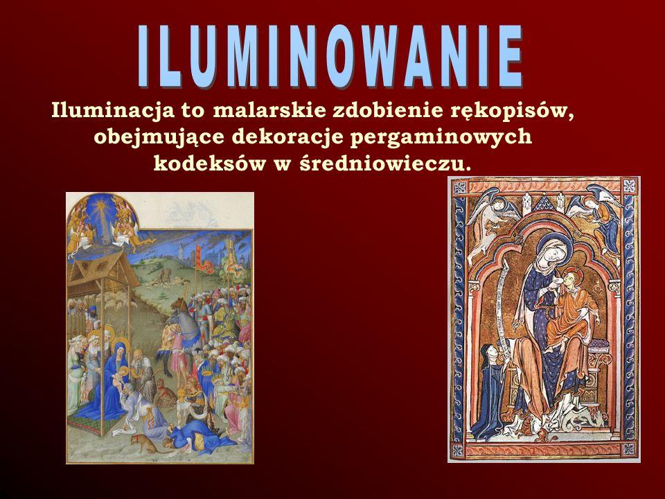 Iluminacja to malarskie zdobienie rękopisów, obejmujące dekoracje pergaminowych kodeksów w średniowieczu.
