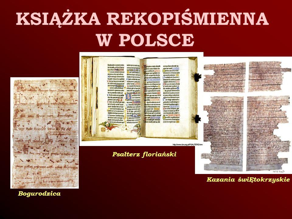 Bogurodzica Kazania świĘtokrzyskie Psałterz floriański KSIĄŻKA REKOPIŚMIENNA W POLSCE