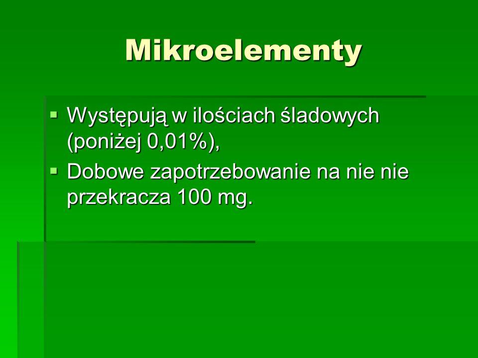 Mikroelementy Występują w ilościach śladowych (poniżej 0,01%), Występują w ilościach śladowych (poniżej 0,01%), Dobowe zapotrzebowanie na nie nie przekracza 100 mg.