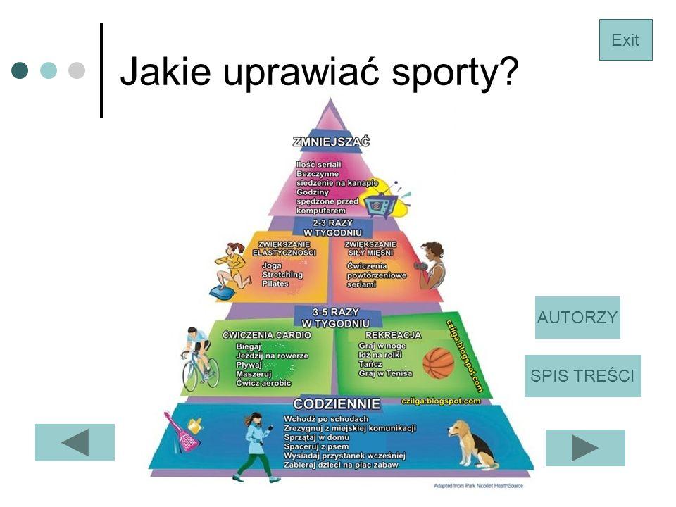 Jakie uprawiać sporty? Exit SPIS TREŚCI AUTORZY