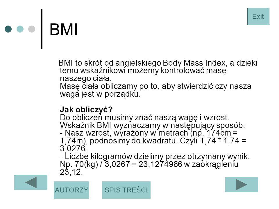 BMI BMI to skrót od angielskiego Body Mass Index, a dzięki temu wskaźnikowi możemy kontrolować masę naszego ciała.