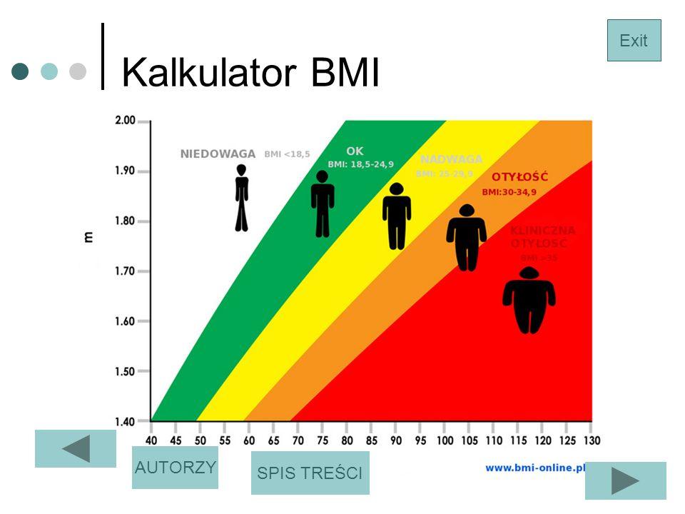 Kalkulator BMI Exit SPIS TREŚCI AUTORZY