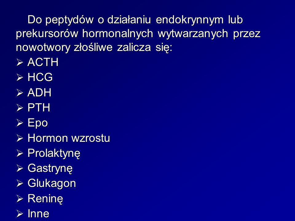 Do peptydów o działaniu endokrynnym lub prekursorów hormonalnych wytwarzanych przez nowotwory złośliwe zalicza się: ACTH ACTH HCG HCG ADH ADH PTH PTH