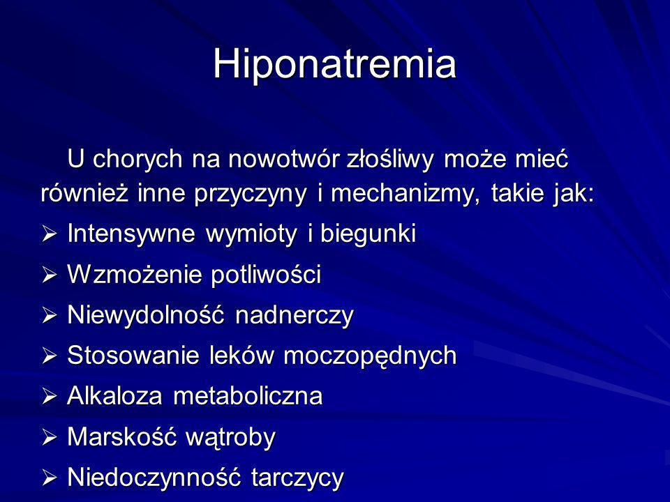 U chorych na nowotwór złośliwy może mieć również inne przyczyny i mechanizmy, takie jak: Intensywne wymioty i biegunki Intensywne wymioty i biegunki W