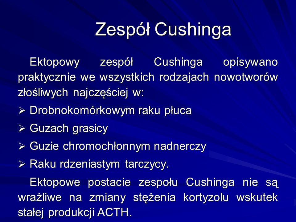Ektopowy zespół Cushinga opisywano praktycznie we wszystkich rodzajach nowotworów złośliwych najczęściej w: Drobnokomórkowym raku płuca Drobnokomórkow