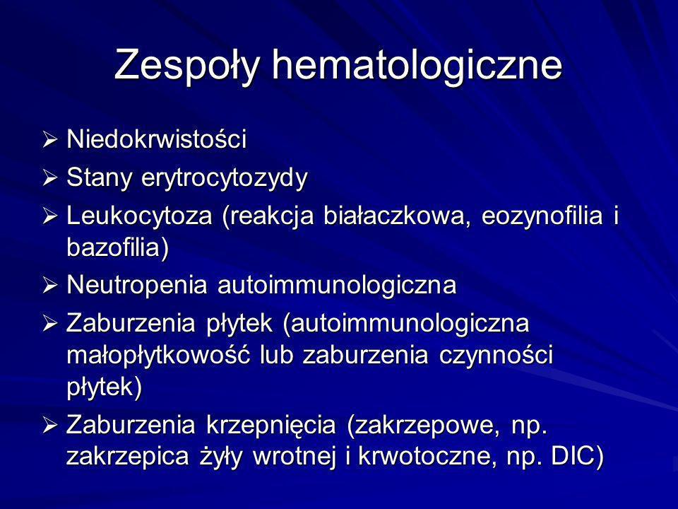 Zespoły hematologiczne Niedokrwistości Niedokrwistości Stany erytrocytozydy Stany erytrocytozydy Leukocytoza (reakcja białaczkowa, eozynofilia i bazof