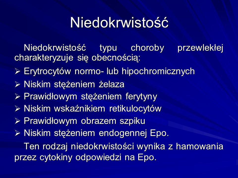 Niedokrwistość typu choroby przewlekłej charakteryzuje się obecnością: Erytrocytów normo- lub hipochromicznych Erytrocytów normo- lub hipochromicznych