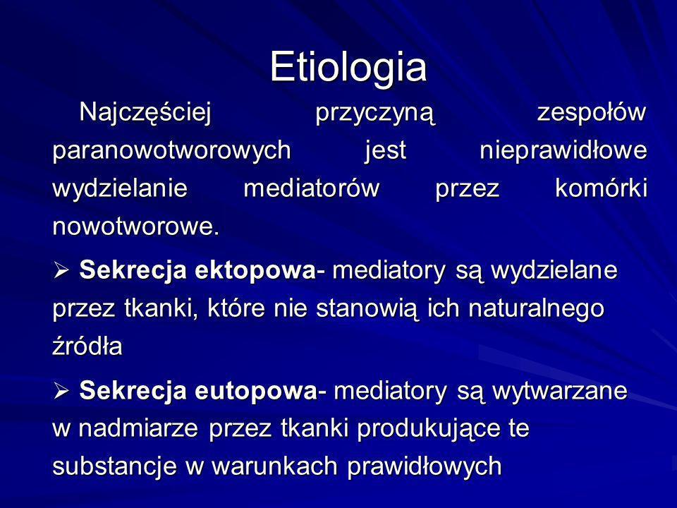Etiologia Najczęściej przyczyną zespołów paranowotworowych jest nieprawidłowe wydzielanie mediatorów przez komórki nowotworowe. Sekrecja ektopowa- med