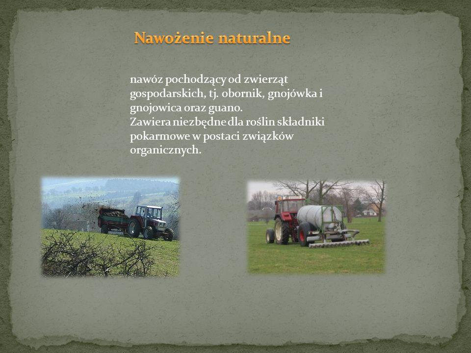 nawóz pochodzący od zwierząt gospodarskich, tj. obornik, gnojówka i gnojowica oraz guano. Zawiera niezbędne dla roślin składniki pokarmowe w postaci z