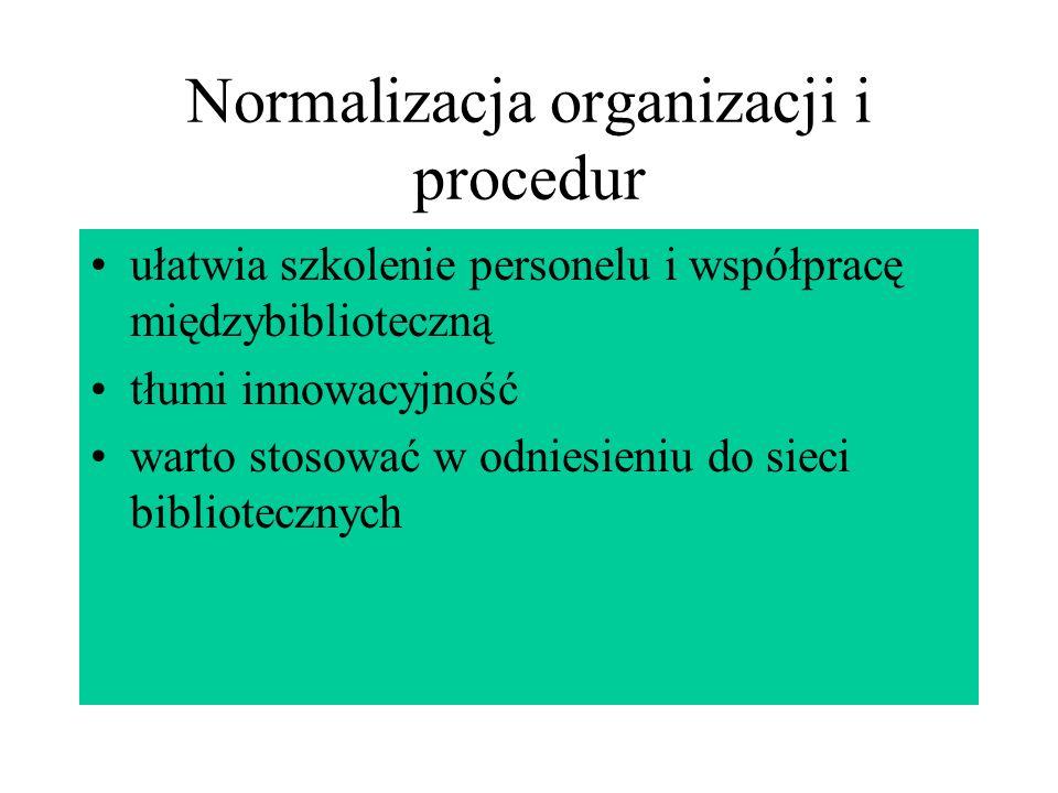 Normalizacja organizacji i procedur ułatwia szkolenie personelu i współpracę międzybiblioteczną tłumi innowacyjność warto stosować w odniesieniu do si