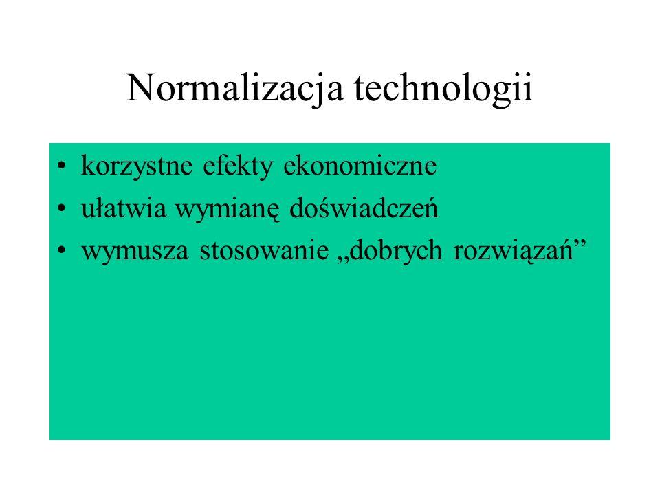 Normalizacja technologii korzystne efekty ekonomiczne ułatwia wymianę doświadczeń wymusza stosowanie dobrych rozwiązań