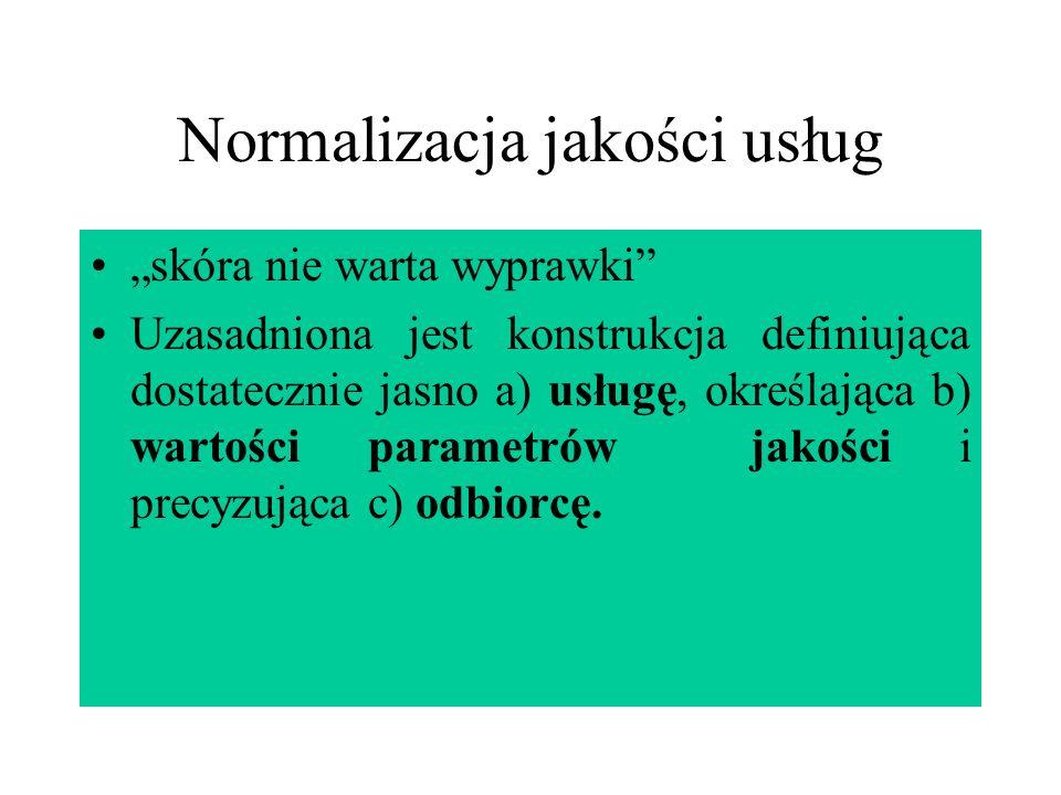 Normalizacja jakości usług skóra nie warta wyprawki Uzasadniona jest konstrukcja definiująca dostatecznie jasno a) usługę, określająca b) wartości par