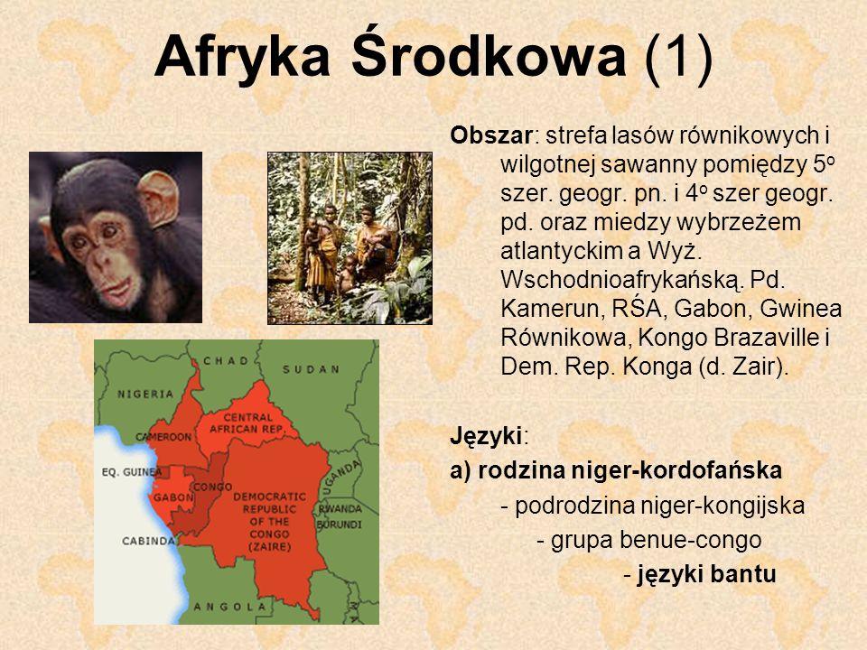 Afryka Środkowa (1) Obszar: strefa lasów równikowych i wilgotnej sawanny pomiędzy 5 o szer. geogr. pn. i 4 o szer geogr. pd. oraz miedzy wybrzeżem atl