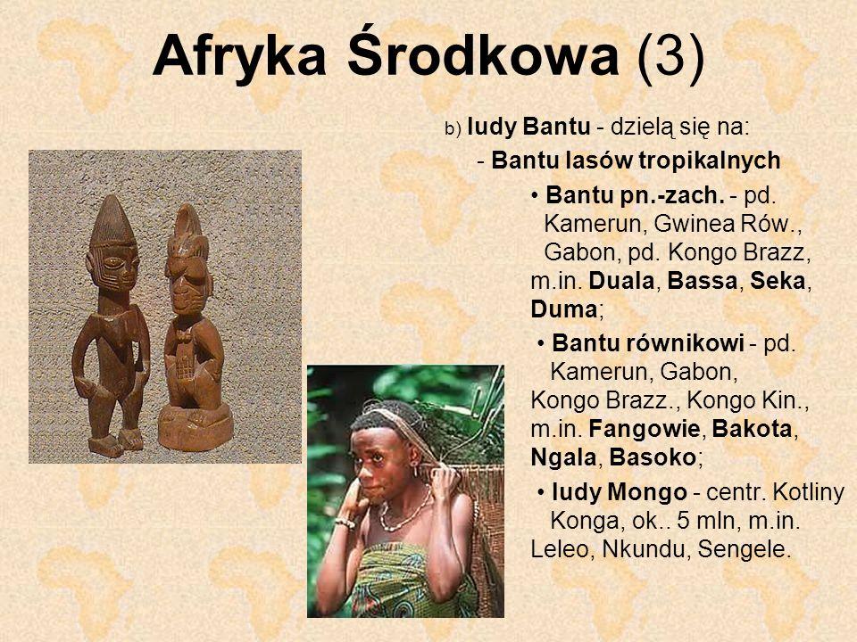 Afryka Środkowa (3) b) ludy Bantu - dzielą się na: - Bantu lasów tropikalnych Bantu pn.-zach. - pd. Kamerun, Gwinea Rów., Gabon, pd. Kongo Brazz, m.in