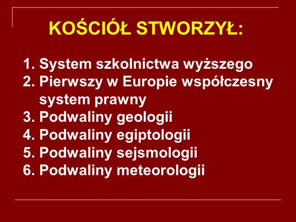1. System szkolnictwa wyższego 2. Pierwszy w Europie współczesny system prawny 3. Podwaliny geologii 4. Podwaliny egiptologii 5. Podwaliny sejsmologii