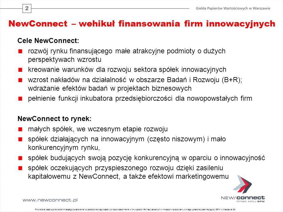 2 NewConnect – wehikuł finansowania firm innowacyjnych Cele NewConnect: rozwój rynku finansującego małe atrakcyjne podmioty o dużych perspektywach wzrostu kreowanie warunków dla rozwoju sektora spółek innowacyjnych wzrost nakładów na działalność w obszarze Badań i Rozwoju (B+R); wdrażanie efektów badań w projektach biznesowych pełnienie funkcji inkubatora przedsiębiorczości dla nowopowstałych firm NewConnect to rynek: małych spółek, we wczesnym etapie rozwoju spółek działających na innowacyjnym (często niszowym) i mało konkurencyjnym rynku, spółek budujących swoją pozycję konkurencyjną w oparciu o innowacyjność spółek oczekujących przyspieszonego rozwoju dzięki zasileniu kapitałowemu z NewConnect, a także efektowi marketingowemu Powielanie bądź publikowanie niniejszego opracowania lub jakiejkolwiek jego części lub rozpowszechnianie w inny sposób informacji zawartych w niniejszym opracowaniu wymaga uprzedniej pisemnej zgody GPW w Warszawie SA
