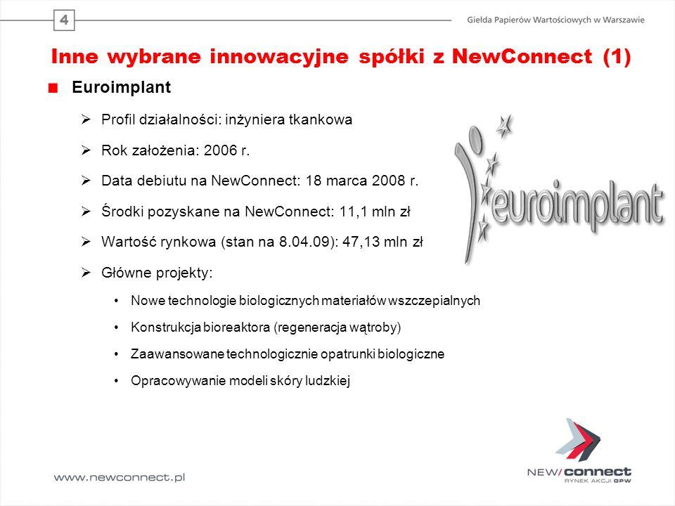 4 Inne wybrane innowacyjne spółki z NewConnect (1) Euroimplant Profil działalności: inżyniera tkankowa Rok założenia: 2006 r.