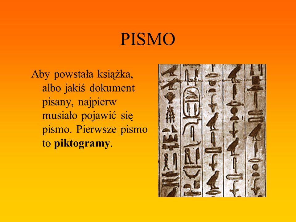 PISMO Aby powstała książka, albo jakiś dokument pisany, najpierw musiało pojawić się pismo. Pierwsze pismo to piktogramy.