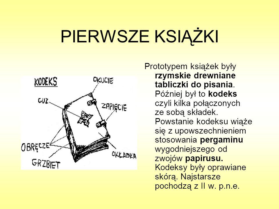 PIERWSZE KSIĄŻKI Prototypem książek były rzymskie drewniane tabliczki do pisania. Później był to kodeks czyli kilka połączonych ze sobą składek. Powst