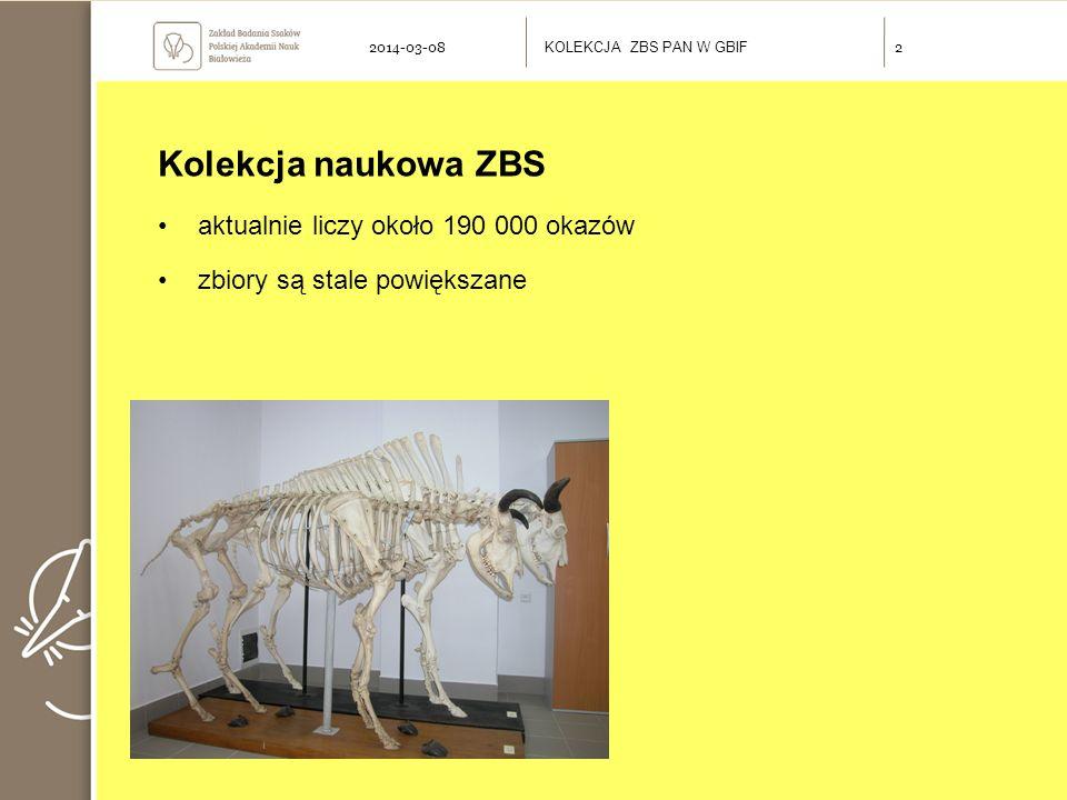 Kolekcja naukowa ZBS aktualnie liczy około 190 000 okazów zbiory są stale powiększane KOLEKCJA ZBS PAN W GBIF 22014-03-08