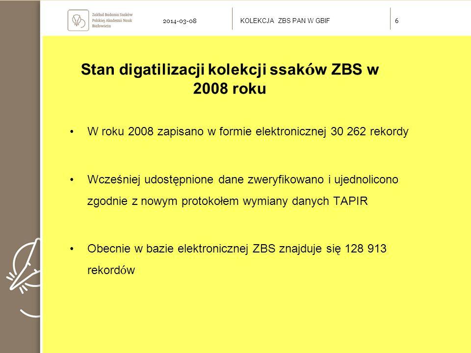Stan digatilizacji kolekcji ssak ó w ZBS w 2008 roku W roku 2008 zapisano w formie elektronicznej 30 262 rekordy Wcześniej udostępnione dane zweryfikowano i ujednolicono zgodnie z nowym protokołem wymiany danych TAPIR Obecnie w bazie elektronicznej ZBS znajduje się 128 913 rekord ó w KOLEKCJA ZBS PAN W GBIF 62014-03-08
