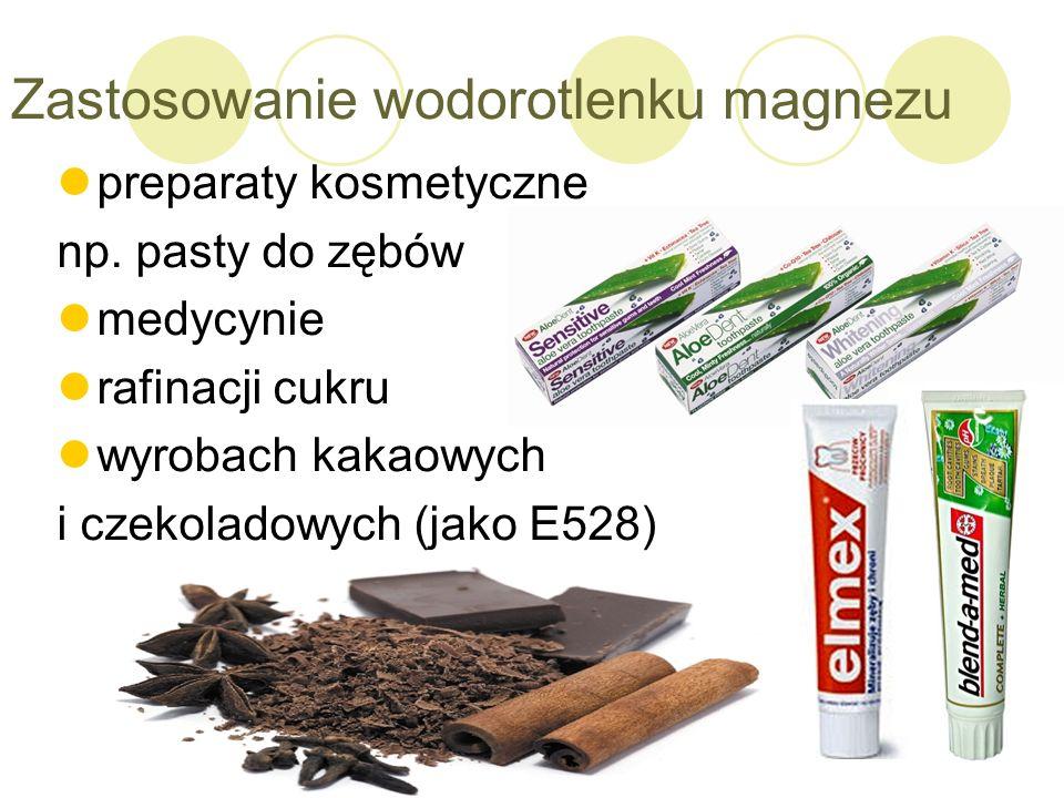 Zastosowanie wodorotlenku magnezu preparaty kosmetyczne np. pasty do zębów medycynie rafinacji cukru wyrobach kakaowych i czekoladowych (jako E528)