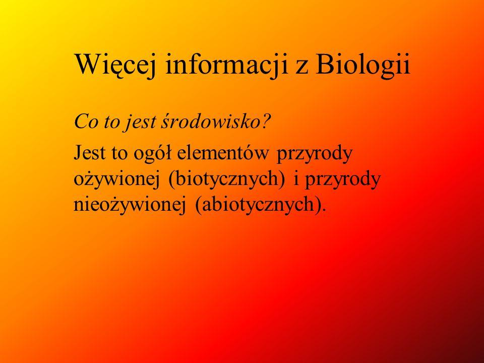 Więcej informacji z Biologii Co to jest środowisko? Jest to ogół elementów przyrody ożywionej (biotycznych) i przyrody nieożywionej (abiotycznych).