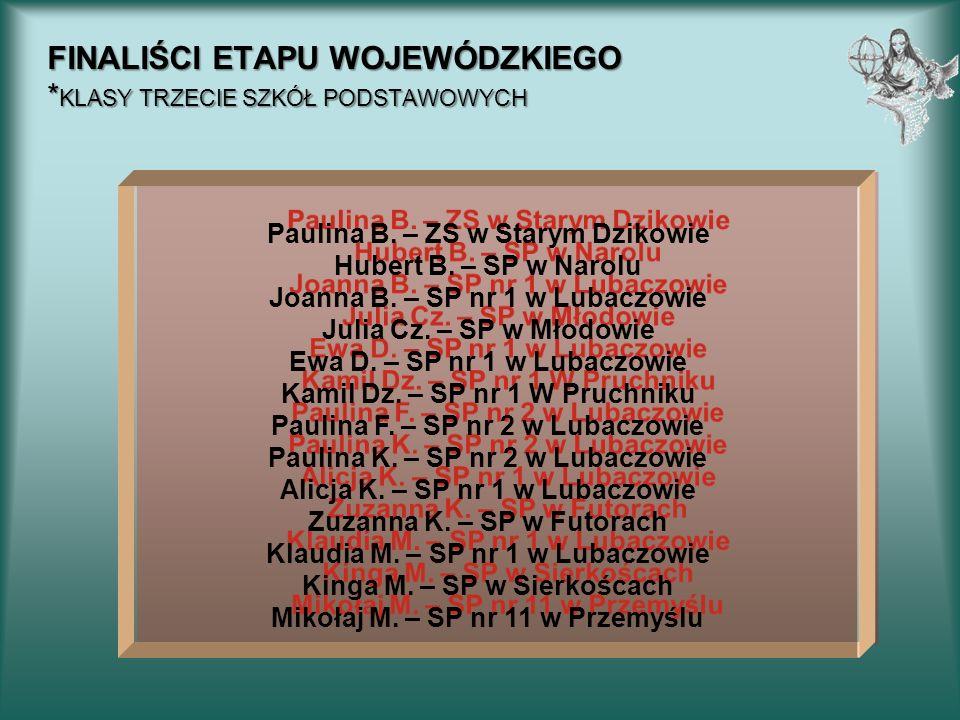 FINALIŚCI ETAPU WOJEWÓDZKIEGO * KLASY TRZECIE SZKÓŁ PODSTAWOWYCH Paulina B. – ZS w Starym Dzikowie Hubert B. – SP w Narolu Joanna B. – SP nr 1 w Lubac